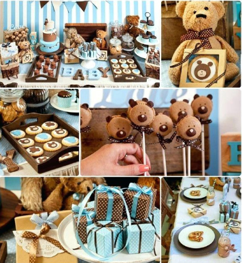 Mesa de dulces de baby shower o bautizo con temática de ositos