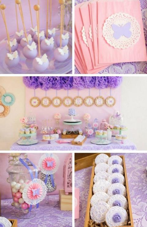 ideas para decoración de mesa de dulces con temática de mariposita para baby shower o bautizo