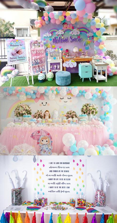 mesas de dulces con temática de arcoiris o nubecita para bautizo
