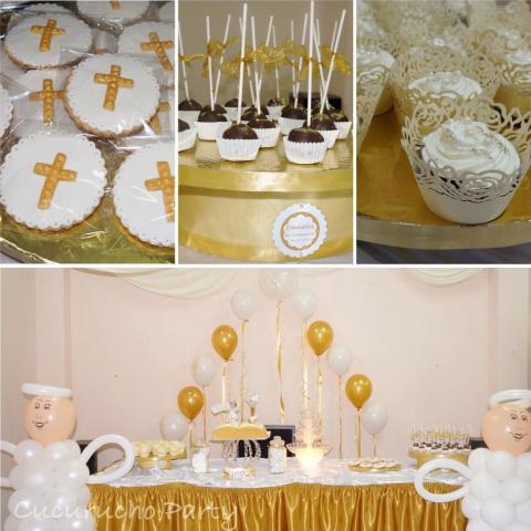Mesa de dulces para bautizo dorado