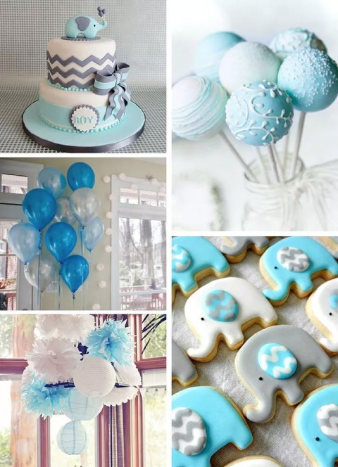 ideas de decoración de elefantitos azules para bautizo o baby shower