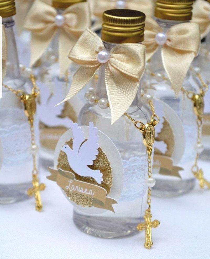 botellita de vidrio con agua bendita para recuerdo de bautizo