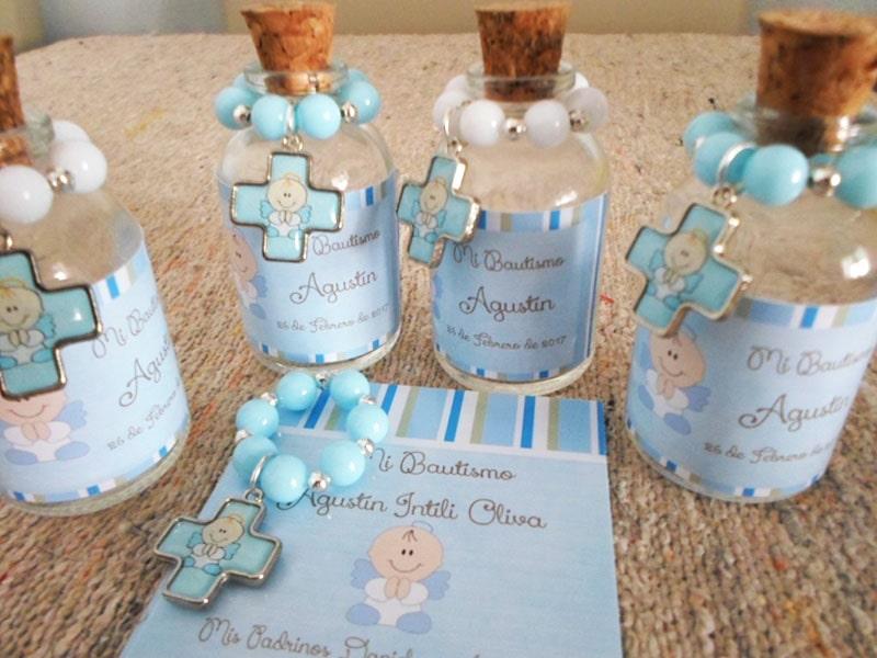 Botellitas con agua bendita y minidenario para bautizo de niño