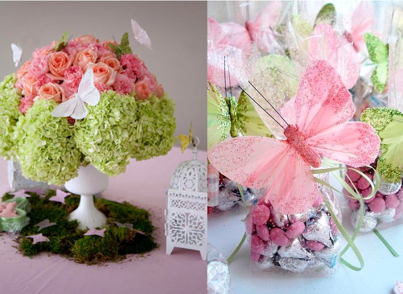 centros florales para recuerdo de bautizo de niño y niña con mariposas