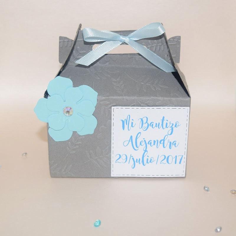 dulcero para mesa de dulces de bautizo_dulcero gris para bautizo de niño_recuerdo para bautizo en caja para dulces