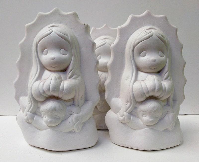 figura de yeso para bautizo con forma de la Virgen María