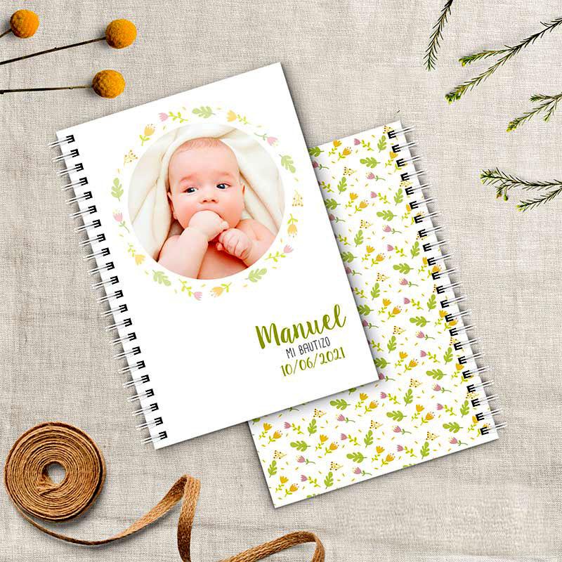 Libreta para bautizo de niño personalizada con foto de bebé