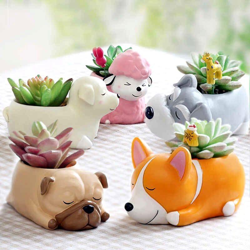Macetas para plantas en forma de perros para recuerdo de bautizo