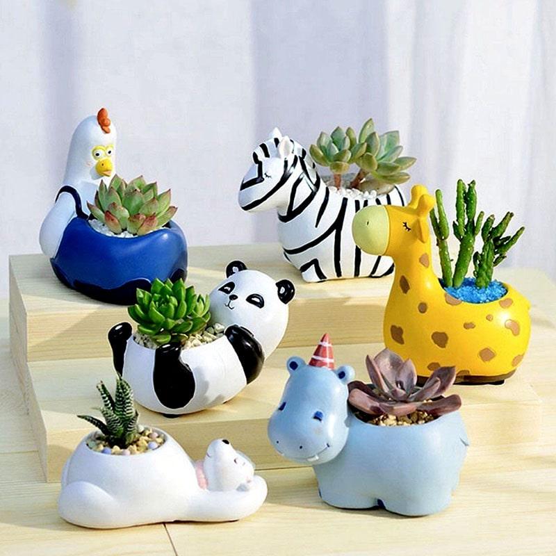macetas con forma de animales de zoológico para plantas de recuerdo para bautizo de niña o niño