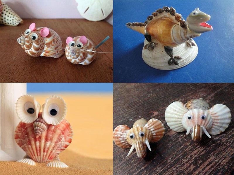 animales hechos con conchas de mar para recuerdo de bautizo y fiestas infantiles marinas