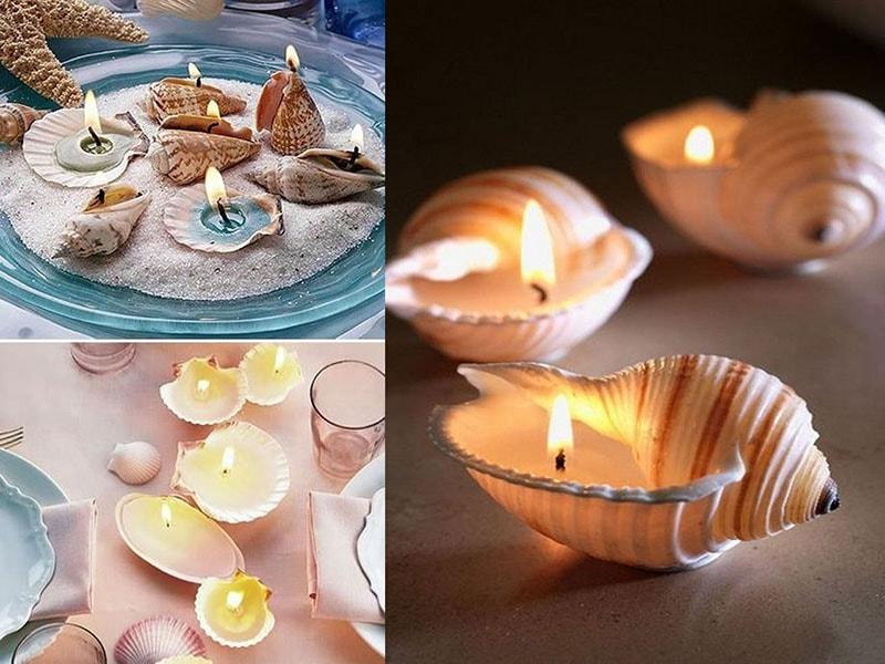velas con conchas de mar para recuerdo de bautizo y fiestas infantiles con temática marina