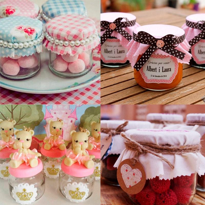 recuerdos para bautizo con frascos de gerber decorados y llenos de dulces