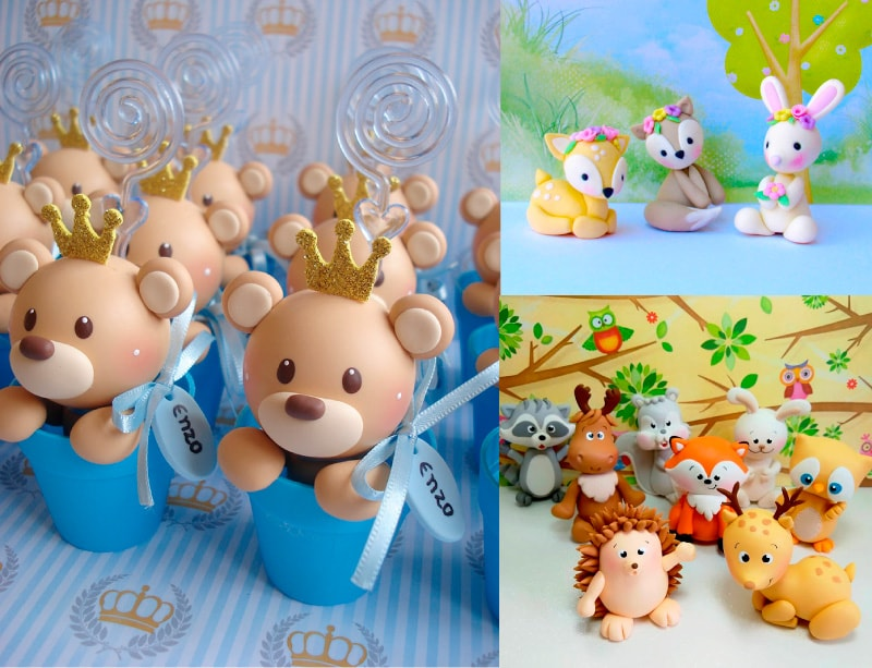 animales hechos con masa flexible para recuerdo de bautizo de niño y niño