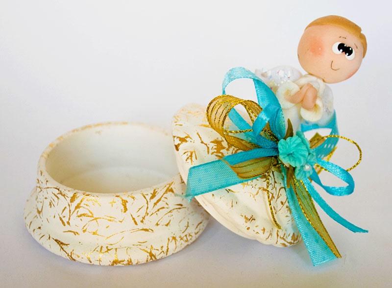 alhajero circular de cerámica con ángel de pasta flexible para bautizo de niño