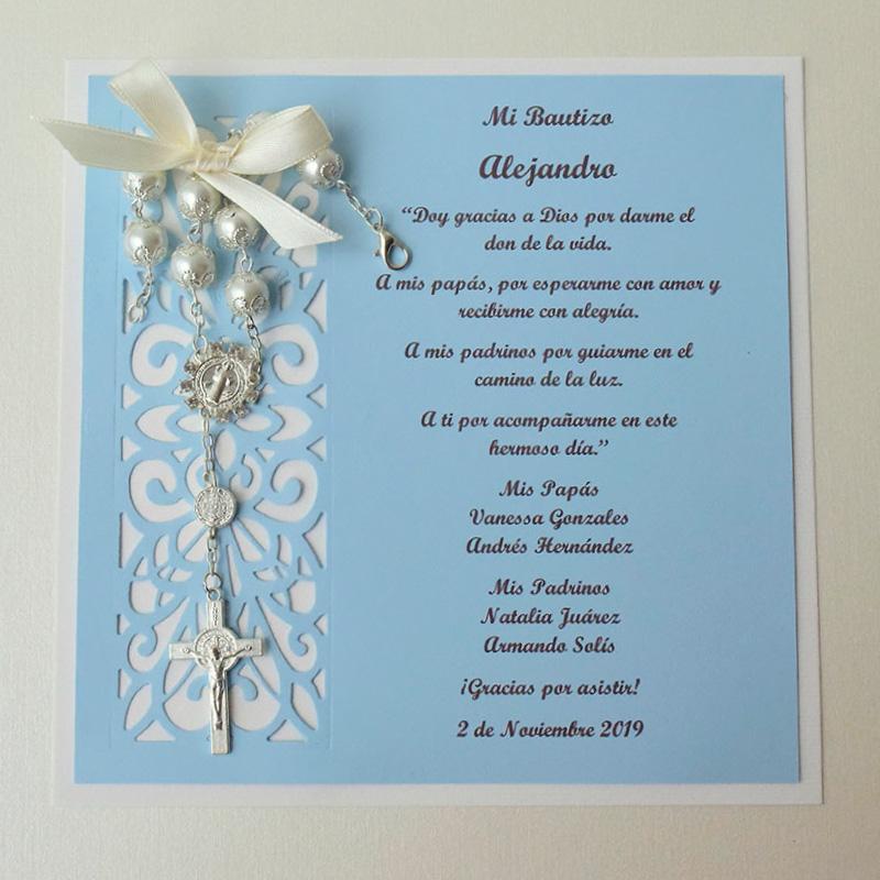 bolo color azul con decenario blanco para bautizo de niño