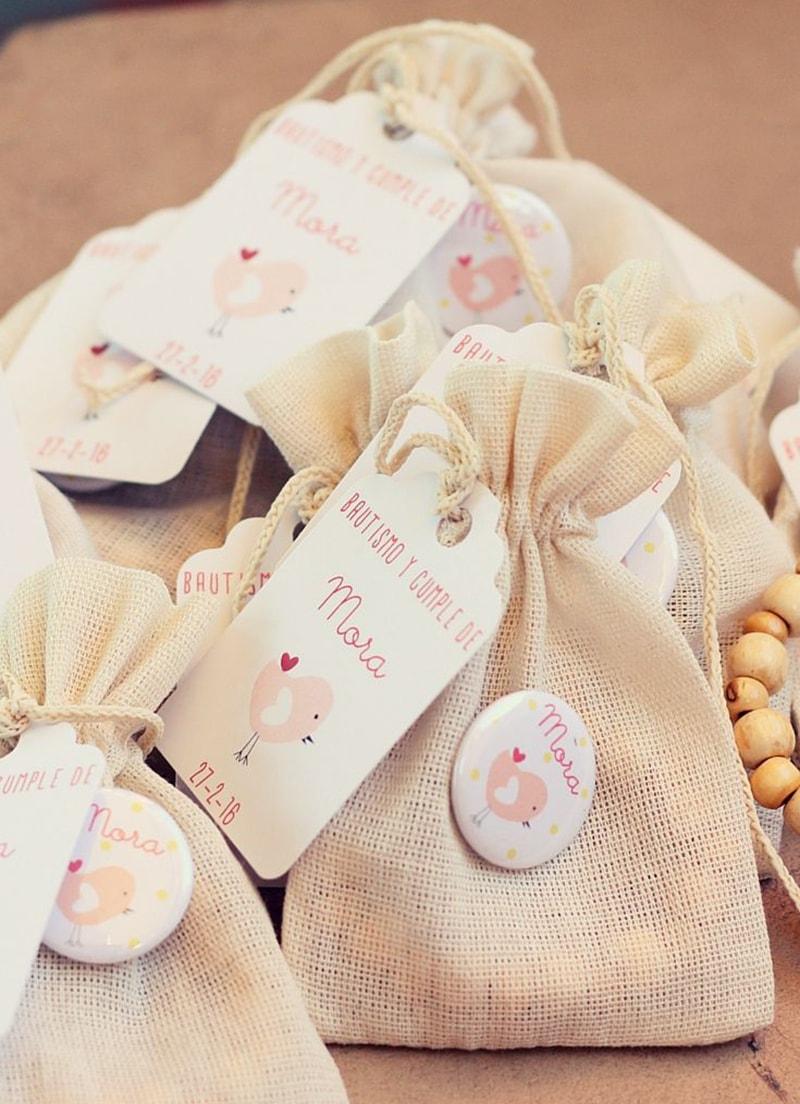 bolsa de dulces para bautizo con etiqueta personalizada