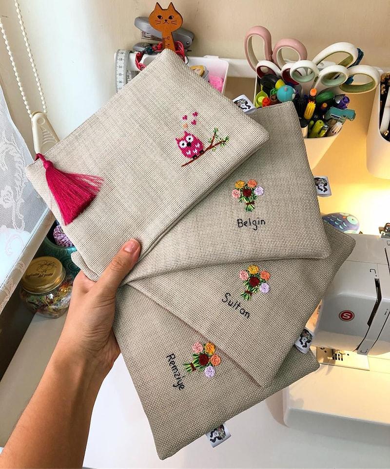 bolsa de tela bordada para recuerdo de bautizo