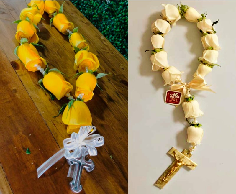 denario con cuenta de flores para recuerdo de bautizo
