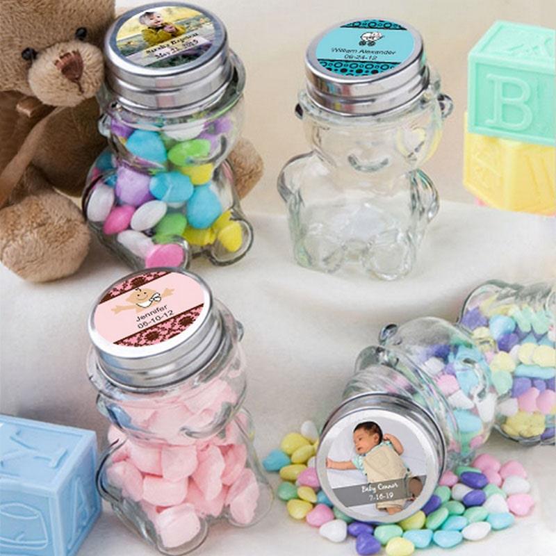 frascos de vidrio con dulces para recuerdo de bautizo de niño y niña