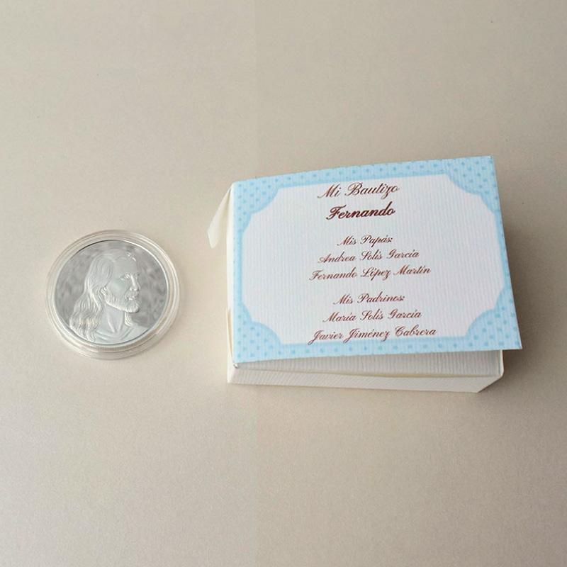 moneda bañada en plata de la ultima cena da Vinci en caja para recuerdo de bautizo