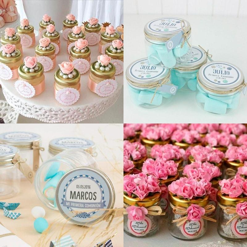 frascos de gerber decorados con flores de masa flexible, flores de tela, etiquetas e hilo cáñamo para recuerdo de bautizo de niño y niña