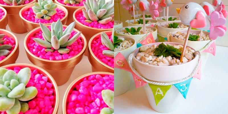 plantas decoradas con piedritas de colores en maceta de cerámica para recuerdo de bautizo