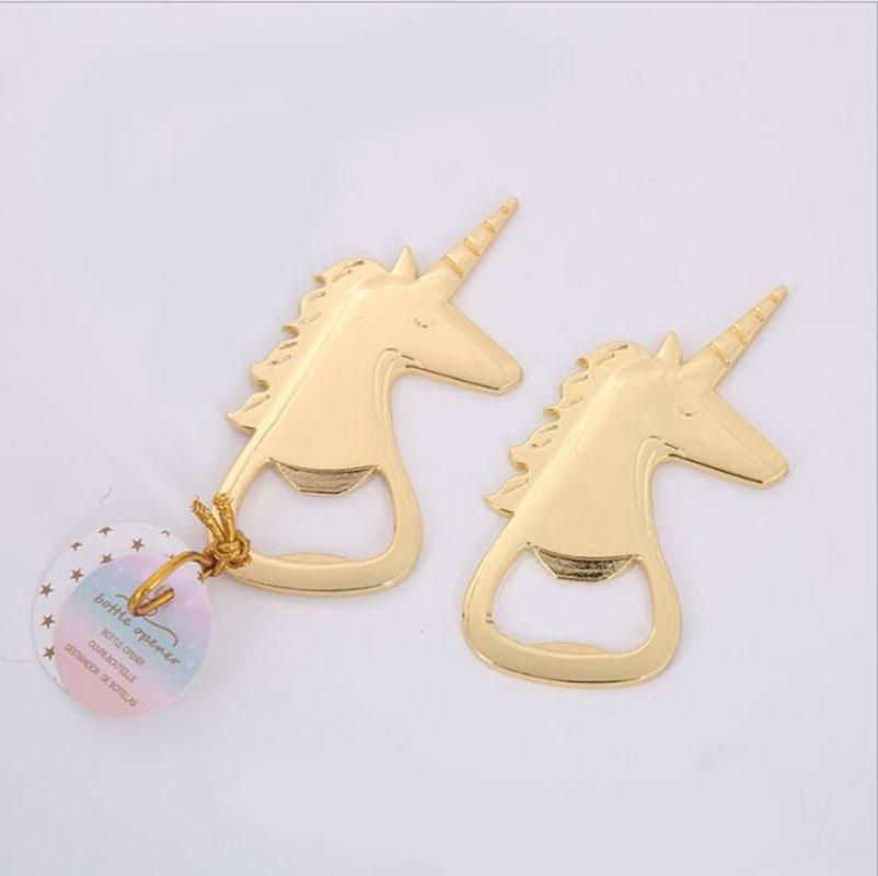 destapador de unicornio color dorado para fiesta infantil, baby shower y bautizo de niña