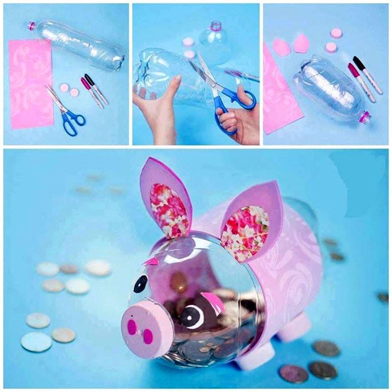 cerdito hecho con botellas de plástico recuerdo para bautizo de niño y niño