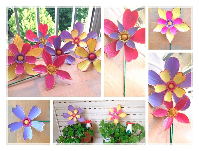 flores hechas con botellas de plástico para adornos florales de bautizo de niño y niña