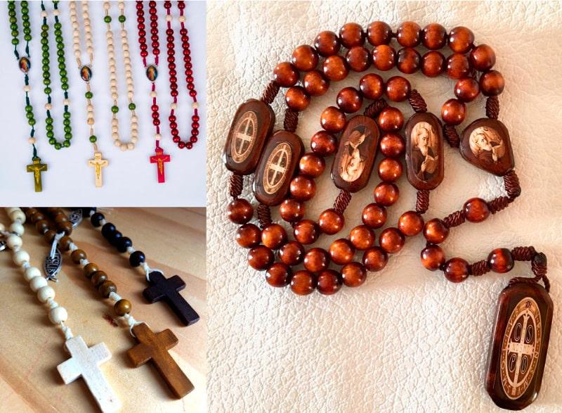 rosario de madera para recuerdo de bautizo