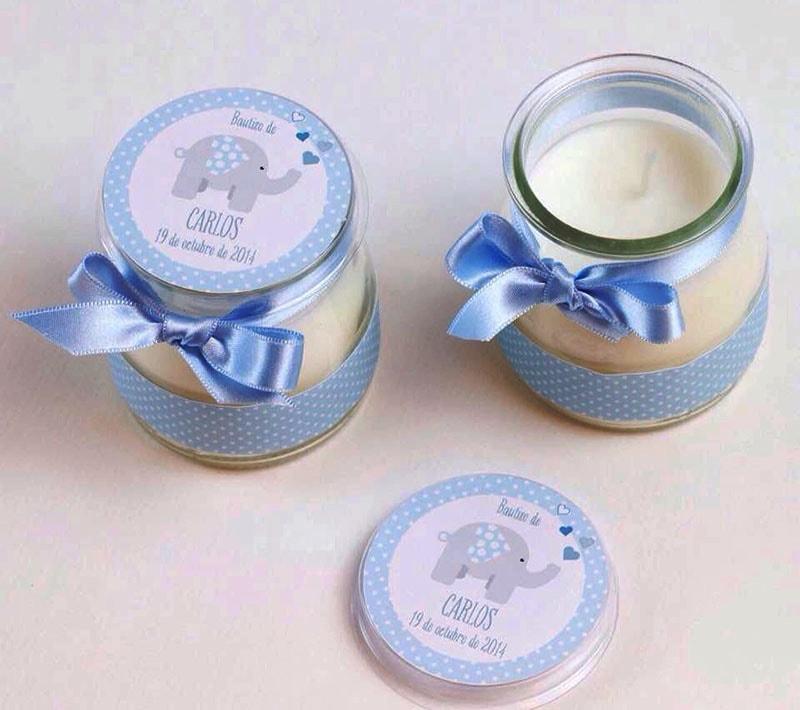 velas con frascos de gerber para recuerdo de bautizo de niño y niña