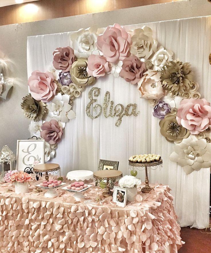 decoración_mesa_de_dulces_bautizo_niña_rosa_gold_bonita_elegante_flores