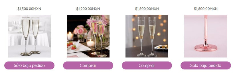 Catálogo de imagenes de copas para boda