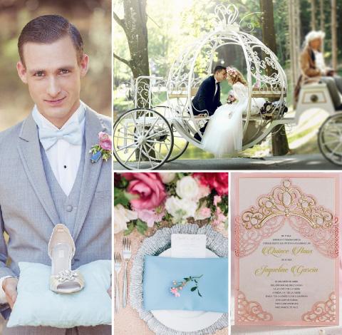 collage de boda inspirada en la cenicienta