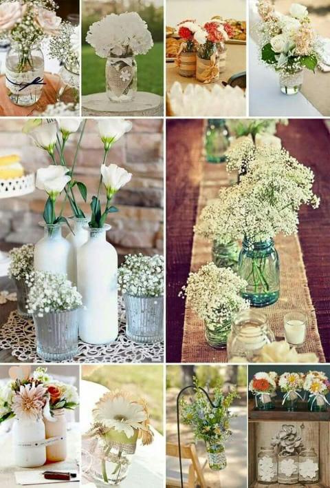 centros de mesa florales para boda con temática vintage