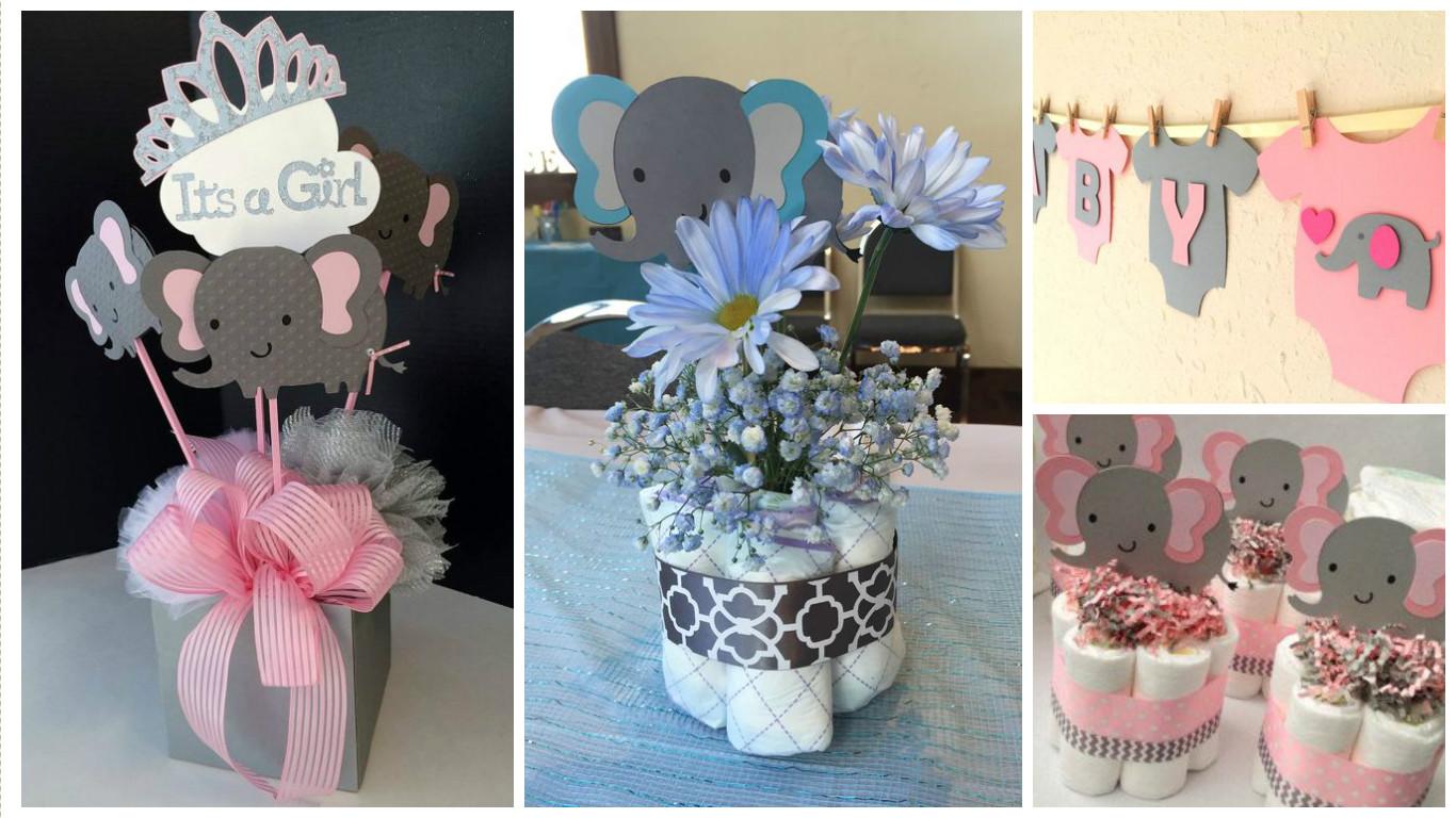 decoración y centros de mesa de elefantito para bautizo o baby shower de niña o niño