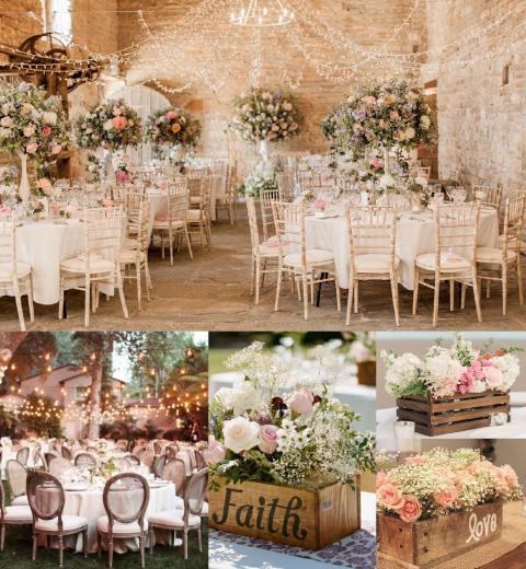 decoración y centros de mesa vintage