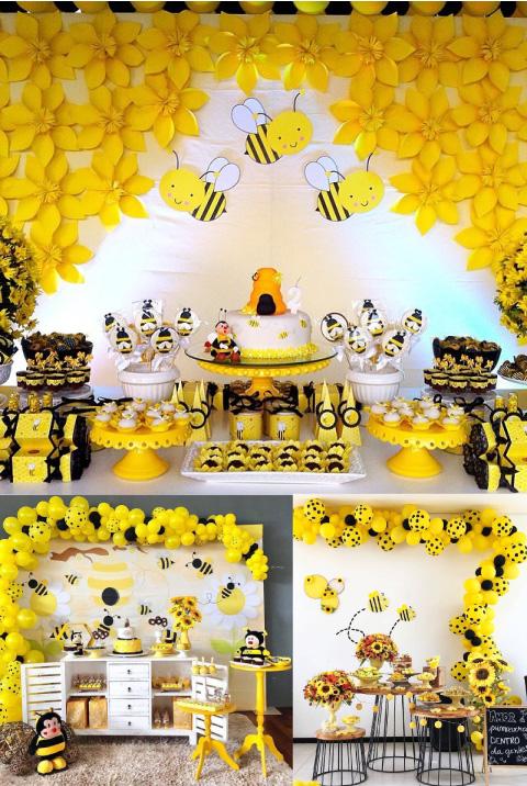 decoración y mesa de dulces con temática de abejita para baby shower o bautizo