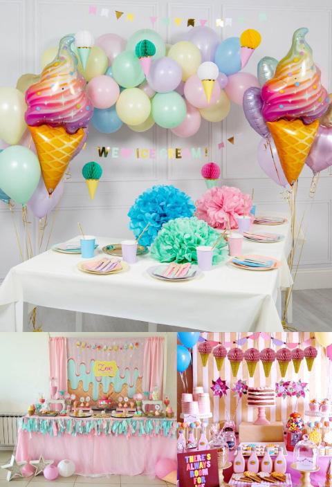 baby shower con temática de helado