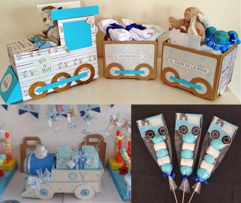 decoración y postres para mesa de dulces con tematica de trenecito para baby shower o bautizo