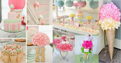 decoracion para baby shower con tematica de heladitos