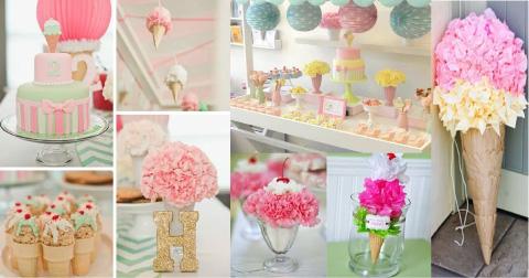 decoracion para baby shower con tematica de heladitos