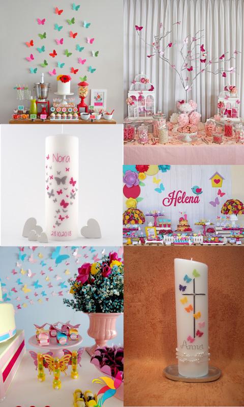 decoraciones y cirio para bautizo con temática de mariposas
