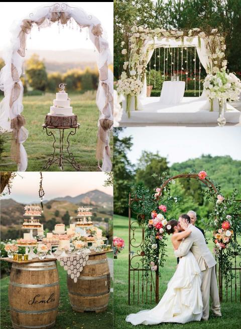 decoración para boda en jardín con arco de rosas