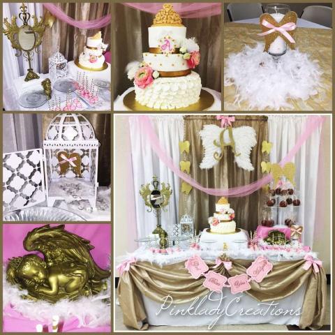 decoraciones de bautizo con temática de ángel