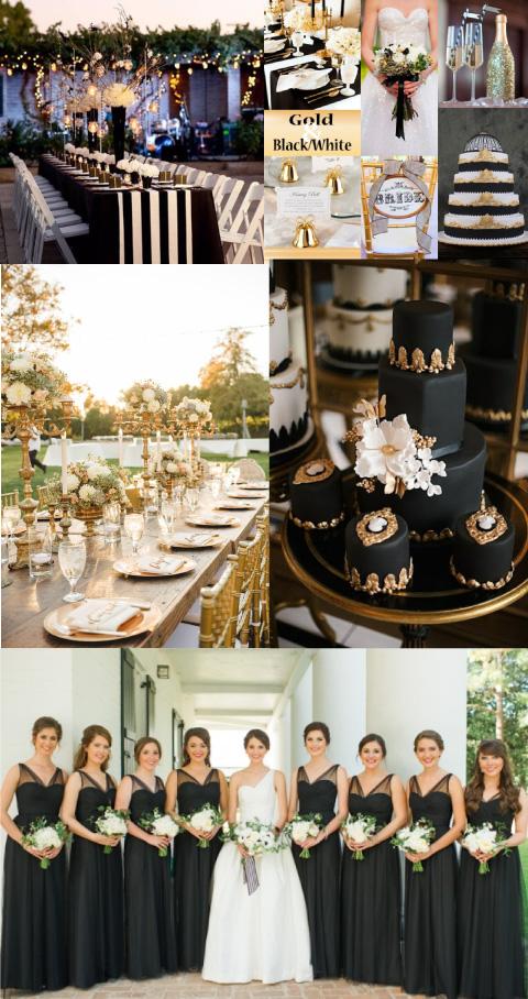 decoraciones e ideas para boda color negra o dorada
