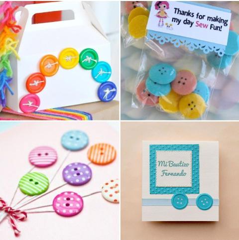 dulceros e invitaciones con tematica de botoncitos para baby shower o bautizo