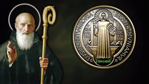 Arras de boda con imagen de San Benito, Medalla de San Benito santo de protección.