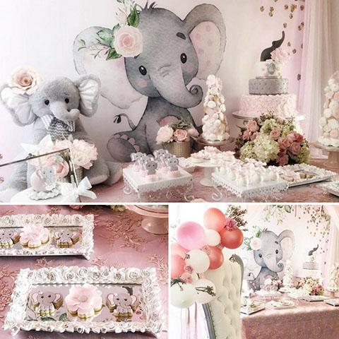 Fiesta de Baby Shower de niña, con decoraciones y temática de elefantitos