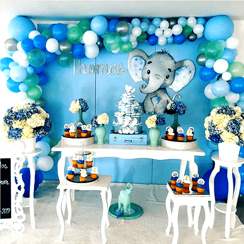 Invitación de baby shower o bautizo de elefante bebe, fiesta temática de elefantito